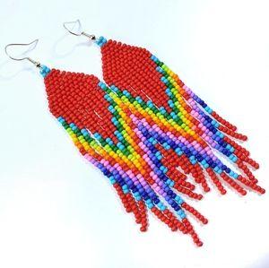 🌈 Red Rainbow Long Fringe Seed Bead Earrings